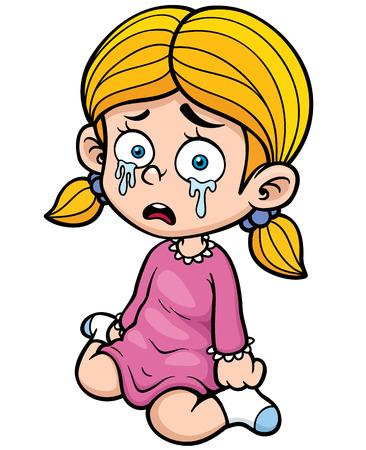 alone and sad: Ilustraci�n de la chica de dibujos animados llorar