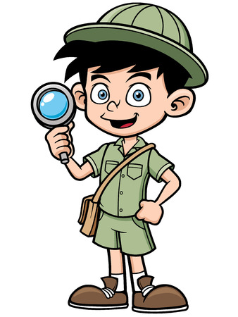 scout: illustration of Boy with magnifying glass