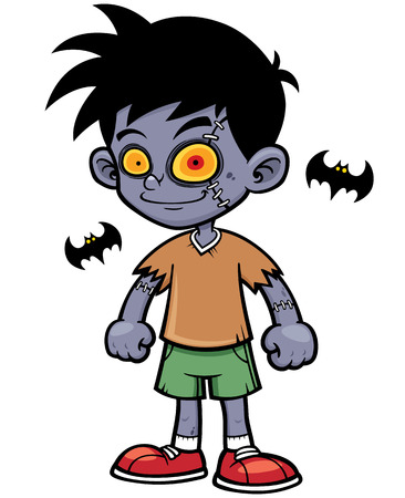 illustration of Cartoon zombie boy Vector
