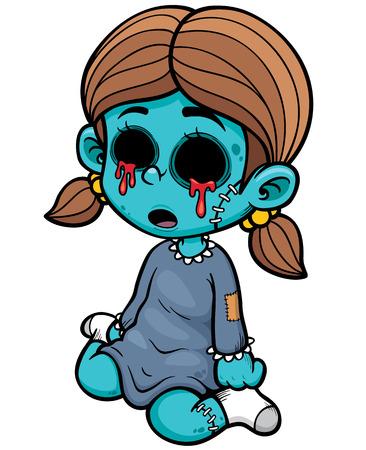 illustration of Cartoon zombie girl Vector