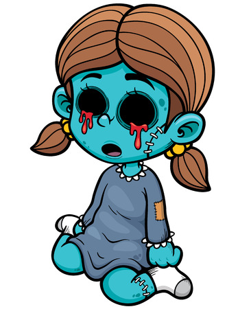 illustration of Cartoon zombie girl