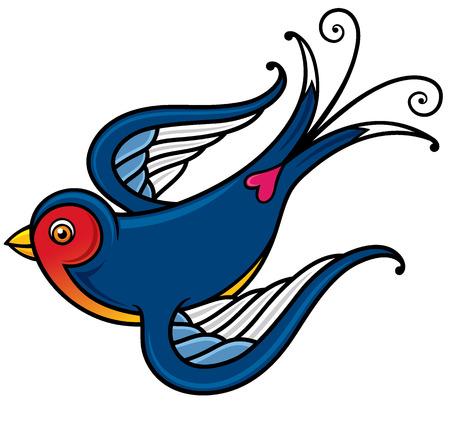 illustratie van Bird - Old-school gestileerde tattoo