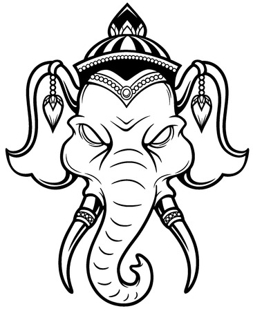 auspicious: illustration of Elephant head - Outline Illustration