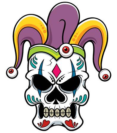 illustration of Joker skull Vector