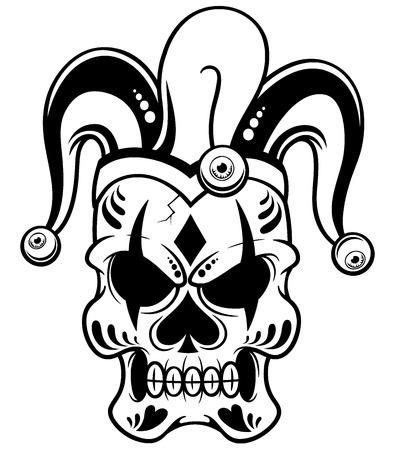 illustration of Joker skull - Outline Vector
