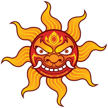 tattoo face: illustration of Sun