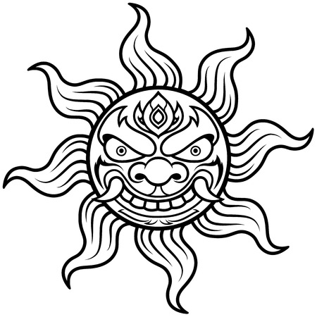 illustration of Sun - Outline Vector