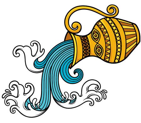 vasi greci: Illustrazione vettoriale del segno zodiacale dell'Acquario