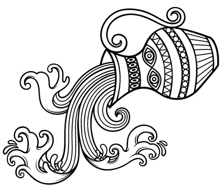 waterfall: Vector Illustration of Aquarius zodiac sign - Outline Illustration