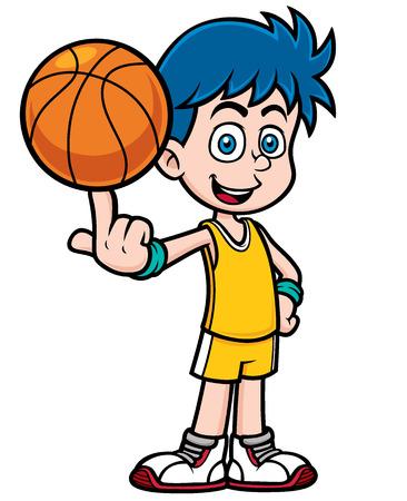 Vector illustration of cartoon basketball player Vettoriali
