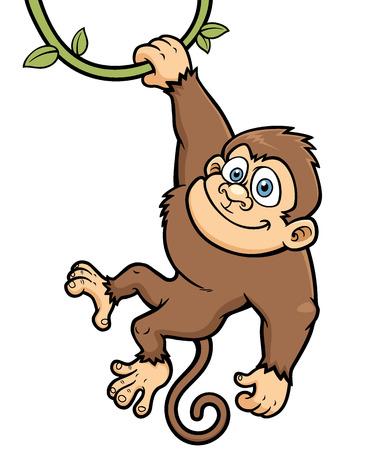 Vector Illustration of Cartoon Monkey Vettoriali