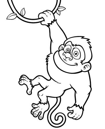 Vector Illustration of Cartoon Monkey - Coloring book