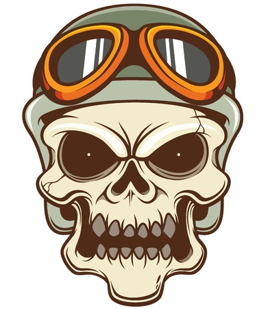Vector illustration of Skull wearing helmet Vector