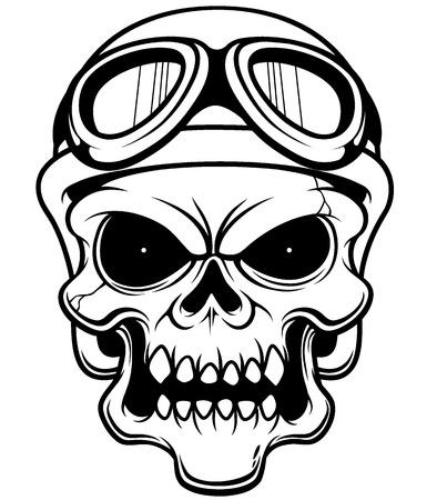 Vector illustration of Skull wearing helmet - Outline