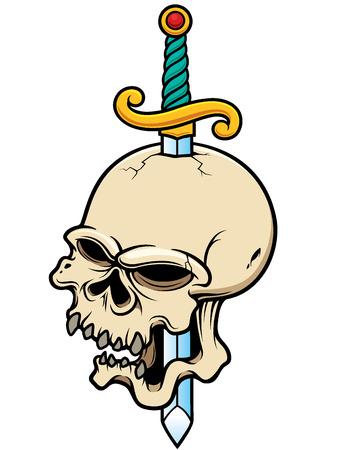 stab: Vector illustration of Skull