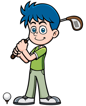 Vector illustration of young golf player Çizim