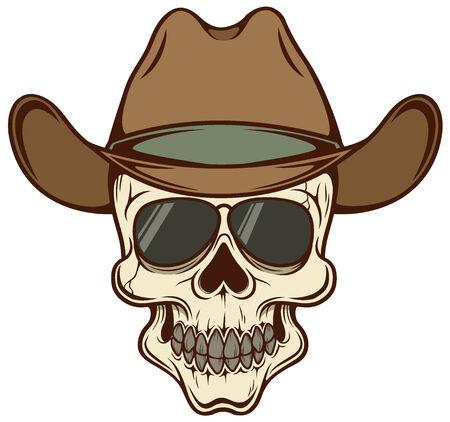Vector illustration of Cowboy skull Vector