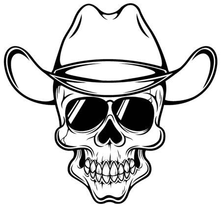 grin: Vector illustration of Cowboy skull - Outline