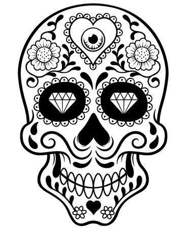 Vector illustration of Skull - Outline