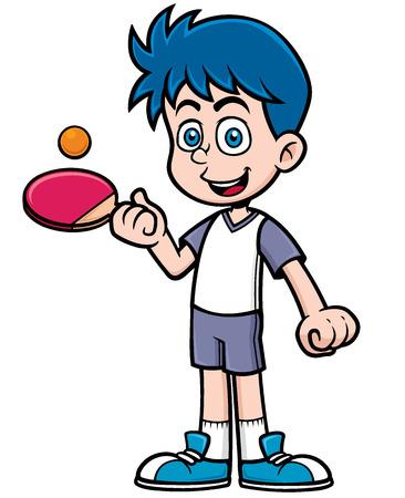 pingpong: Ilustración vectorial de dibujos animados jugador de tenis de mesa