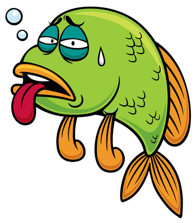 funny: illustration of Cartoon fish sick