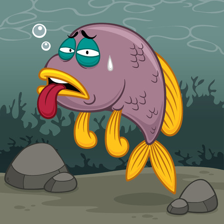 illustration of Cartoon fish sick