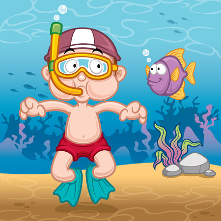 illustration of Snorkeling kid Vector