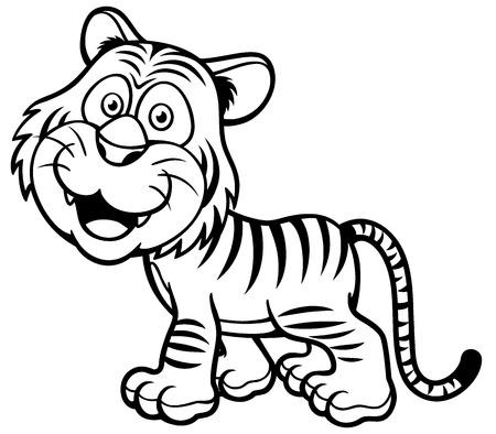 Illustration Of Tiger Cartoon Coloring Book Royalty Free Cliparts