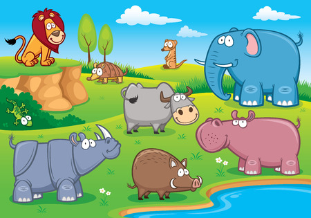 illustration of Wild animals cartoons Vector