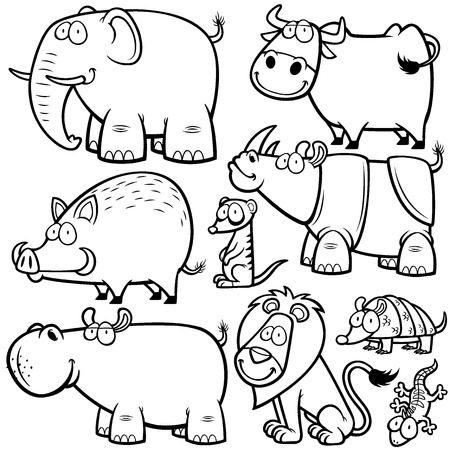 illustration of Wild animals cartoons - Coloring book Vector