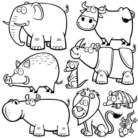 illustration of Wild animals cartoons - Coloring book Illustration