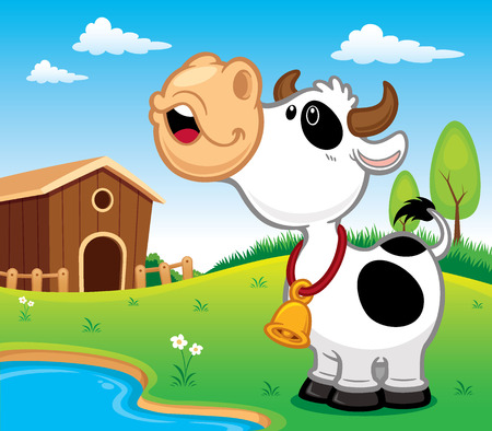 cow vector: Vector illustration of Cartoon Cow Illustration