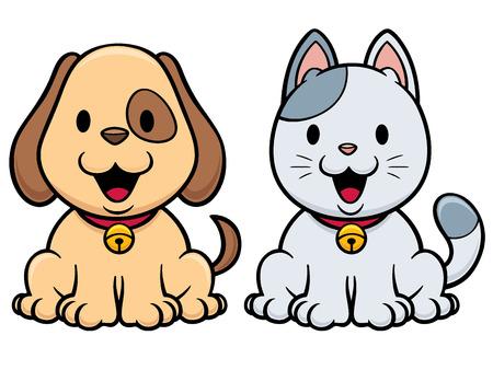 Vector illustration of cartoon cat and dog