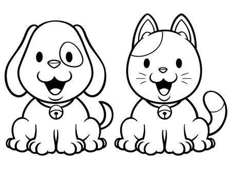 漫画猫と犬の塗り絵のベクトル イラスト 写真素材 - 31498219