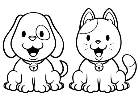 Vector illustration of cartoon cat and dog - Coloring book