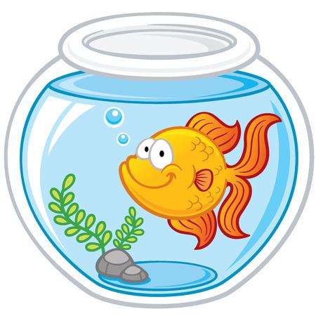 Ilustración vectorial de Goldfish en un tazón Foto de archivo - 31498222