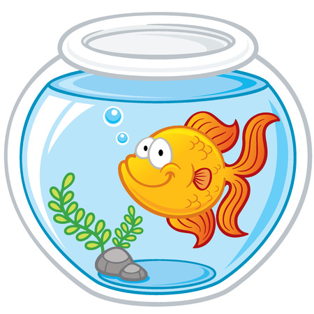 Vector illustration of Goldfish in a bowl Çizim
