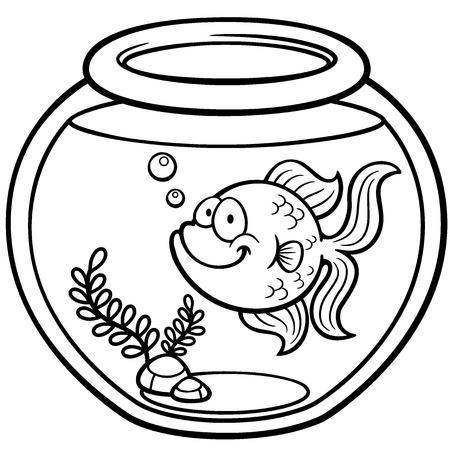 peces de colores: Ilustración vectorial de Goldfish en un tazón - Libro de colorante