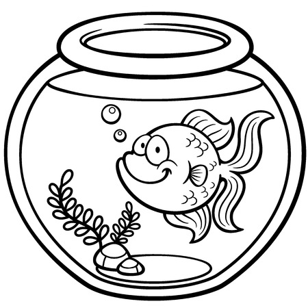 Vector illustration of Goldfish in a bowl - Coloring book Illustration