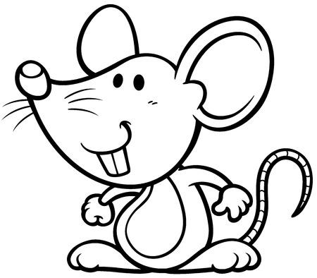 cartoon rat: Vector illustration of cartoon rat - Coloring book