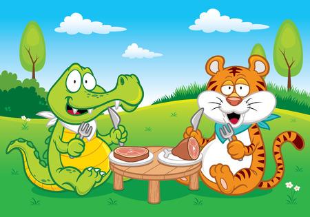 sumatran: Vector illustration of Cartoon crocodile and tiger eating
