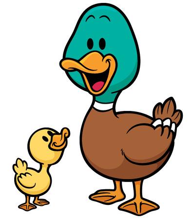 pato caricatura: Vector ilustración de dibujos animados del pato