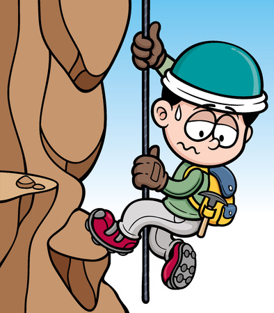 climbing mountain: Vector illustration of Rock climber