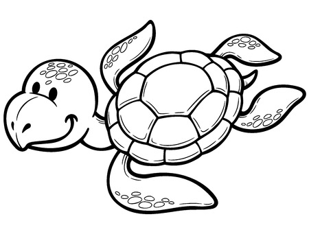 carapace: Vector illustration of Cartoon turtle - Coloring book
