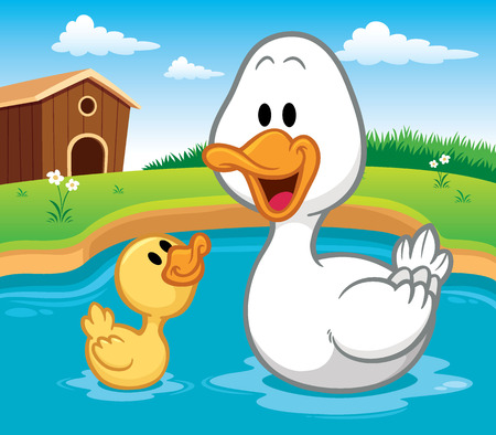 squeak: Vector illustration of Duck cartoon