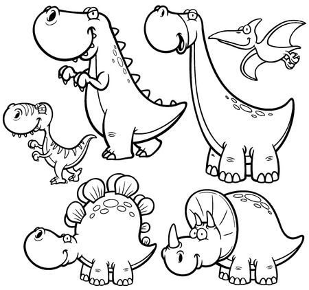 Vector illustration of Dinosaurs cartoon characters - Coloring book Ilustração