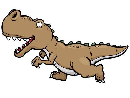 t rex: Vector illustration of cartoon dinosaur running