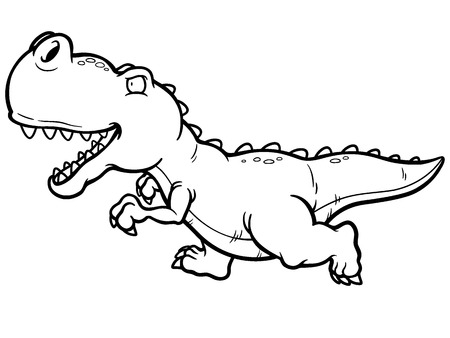 t rex: Vector illustration of cartoon dinosaur running - Coloring book