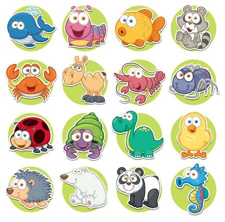 Ilustración vectorial de conjunto de animales de dibujos animados