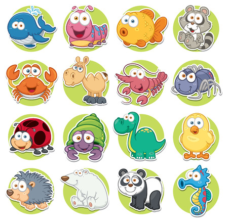Vector illustration of Animals set Cartoon Vector